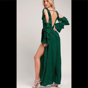 NWT Lulus | Green Satin Wrap Backless Dress Size S
